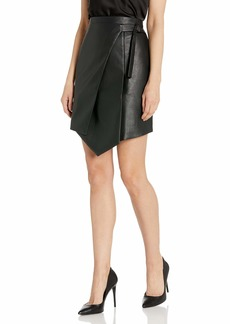 BCBG Max Azria BCBGMAXAZRIA Women's Yulissa Faux-Leather Wrap Skirt  s