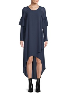 BCBGMAXAZRIA Woven Asymmetric Hi-Lo Dress