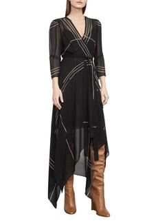 BCBGMAXAZRIA Woven City Wrap-Front Handkerchief Dress