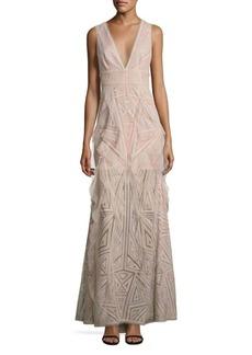BCBGMAXAZRIA Woven Lace Ruffle Gown