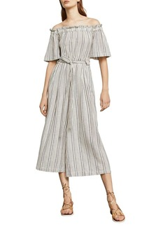 BCBG Max Azria BCBGMAXAZRIA Woven Striped Off-the-Shoulder Jumpsuit