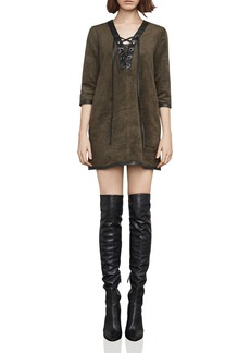 BCBG Max Azria BCBGMAXAZRIA Yousra Lace-Up Faux Suede Dress