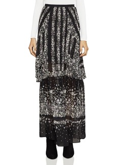 BCBGMAXAZRIA Ziata Ruffled Floral Print Maxi Skirt