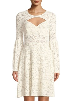 BCBG Max Azria Bell-Sleeve Floral-Lace Illusion Dress