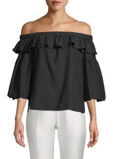 BCBG Max Azria Bell-Sleeve Off-The-Shoulder Top