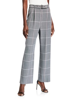 BCBG Max Azria Belted Houndstooth Check High-Rise Pants