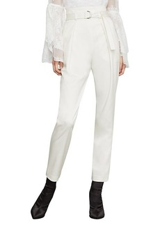 BCBG Max Azria Belted Pleat-Front Straight-Leg Ankle Pants