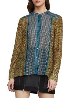 BCBG Max Azria Border Weave Tie-Front Shirt