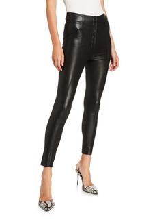 BCBG Max Azria Button-Front Faux Leather Leggings