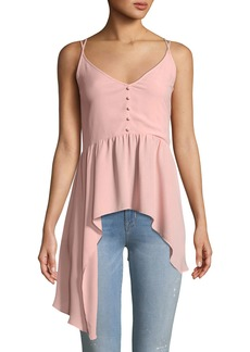 BCBG Max Azria Button-Front Handkerchief Date Top