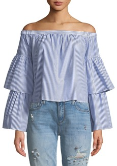 BCBG Max Azria Callison Off-the-Shoulder Striped Top