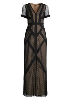BCBG Max Azria Cap-Sleeve Geometric Gown