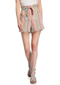 BCBG Max Azria Casual Cotton Striped Sash-Tie Shorts