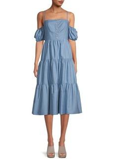 BCBG Max Azria Chambray Cold-Shoulder Tiered Dress