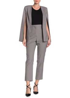 BCBG Max Azria Checked High Waisted Ankle Trousers