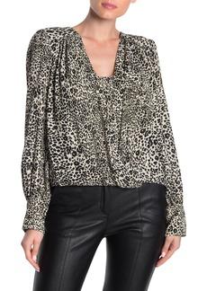 BCBG Max Azria Cheetah Print Drape Blouse