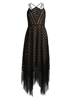 BCBG Max Azria Chevron Tulle Handkerchief Dress