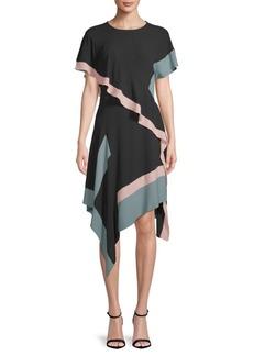 City Colorblock Asymmetrical Dress
