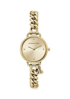 BCBG Max Azria Classic Goldtone Stainless Steel Charm Bracelet Watch