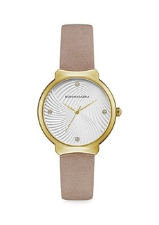 BCBG Max Azria Classic Goldtone Stainless Steel Leather-Strap Watch