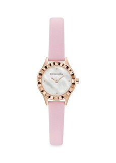 BCBG Max Azria Classic Mother-Of-Pearl Rose Goldtone Stainless Steel Leather-Strap Watch