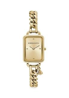 BCBG Max Azria Classic Rectangular Goldtone Stainless Steel Charm Bracelet Watch