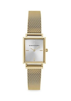 BCBG Max Azria Classic Rectangular Goldtone Stainless Steel Mesh Bracelet Watch
