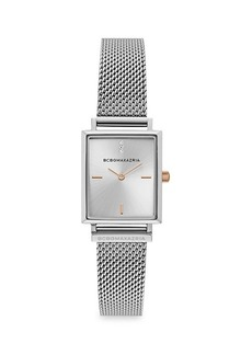 BCBG Max Azria Classic Rectangular Stainless Steel Mesh Bracelet Watch