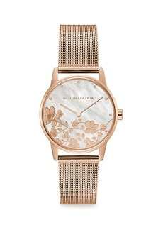 BCBG Max Azria Classic Rose Goldtone Floral Stainless Steel Mesh Bracelet Watch