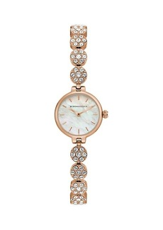 BCBG Max Azria Classic Rose Goldtone Stainless Steel, Mother-Of-Pearl & Crystal Bracelet Watch