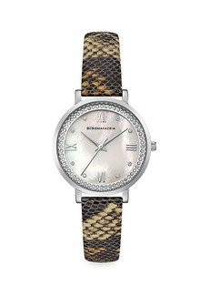 BCBG Max Azria Classic Stainless Steel Python-Embossed Leather-Strap Watch