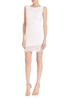 BCBG Max Azria Clio Ruched Jersey & Lace Dress