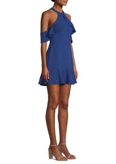 BCBG Max Azria Cold-Shoulder Fit-&-Flare Dress
