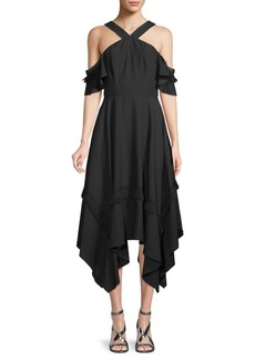 BCBG Max Azria Cold-Shoulder Handkerchief Dress