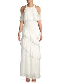 BCBG Max Azria Cold-Shoulder Ruffle Chiffon Halter Gown