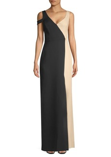 BCBG Max Azria Asymmetric Colorblock Gown