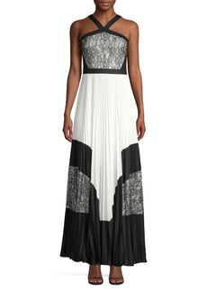 BCBG Max Azria Colorblock Lace & Pleated Halter Maxi Dress