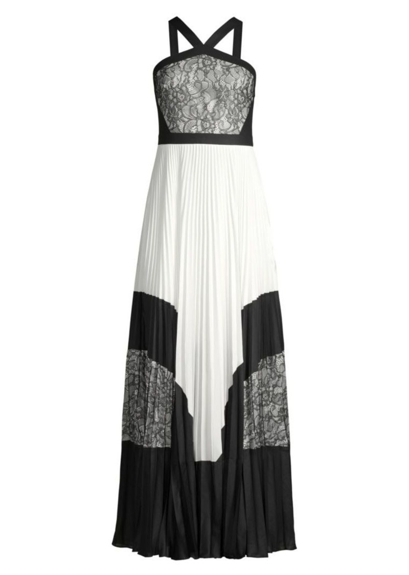 BCBG Max Azria Colorblock Lace & Pleated Halter Maxi Dress