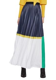 BCBG Max Azria Colorblock Pleated Maxi Skirt
