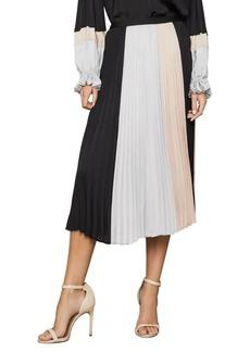 BCBG Max Azria Colorblock Pleated Midi Skirt