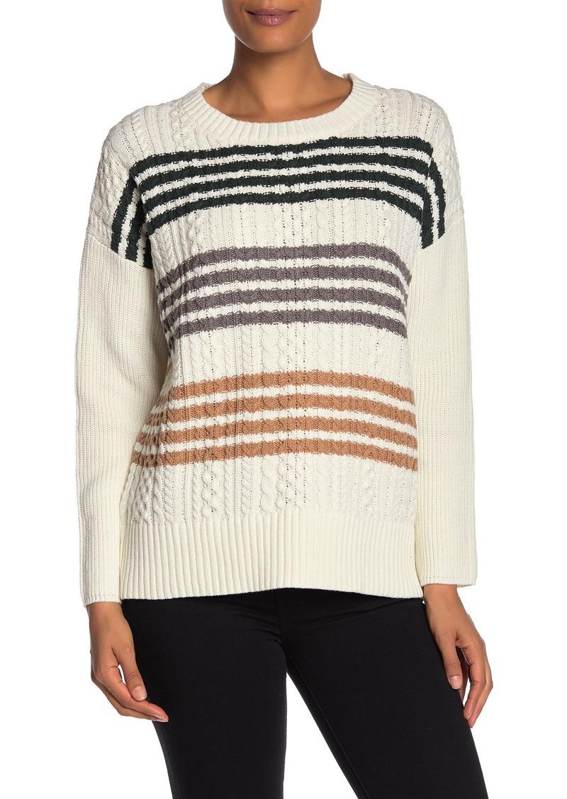 BCBG Max Azria Colorblock Stripe Crew Neck Sweater