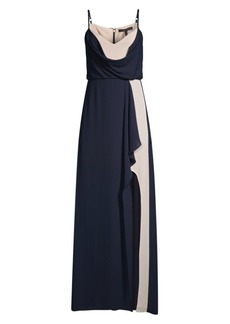 BCBG Max Azria Colorblocked Draped Georgette Gown