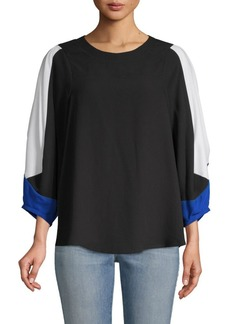 BCBG Max Azria Colorblocked Long-Sleeve Top