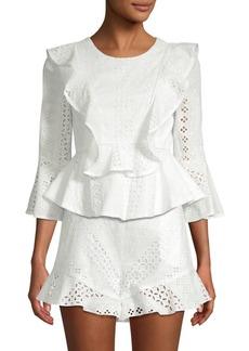 BCBG Max Azria Cotton Eyelet Top