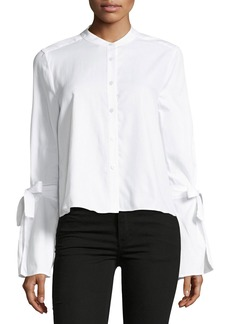 BCBG Max Azria Crewneck Bell-Sleeve Button Up