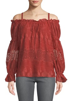 BCBG Max Azria Crochet Embroidered Cold-Shoulder Top