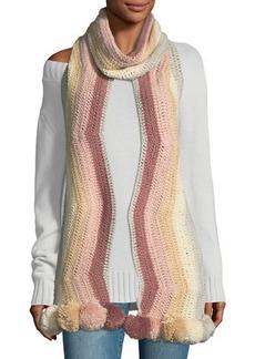 BCBG Max Azria Crochet Striped Pompom Trim Muffler