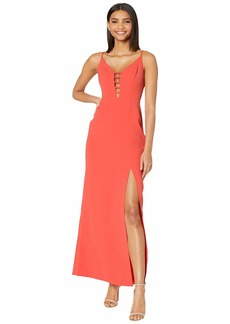 BCBG Max Azria Cut Out Detail Evening Gown with High Slit