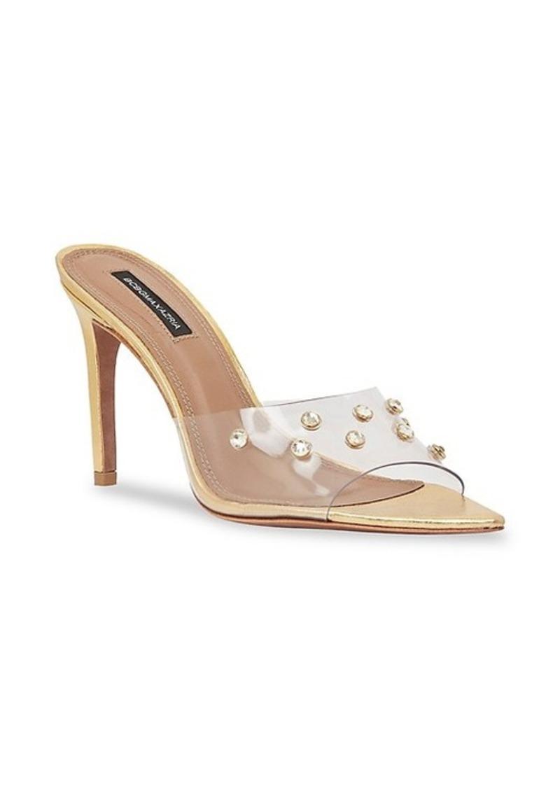 BCBG Max Azria Dana Swarovski Crystal Translucent Mule Sandals
