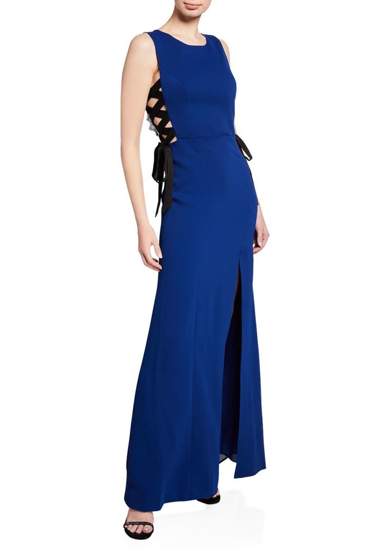 BCBG Max Azria Daulphine Tie-Side Lace-Back Gown